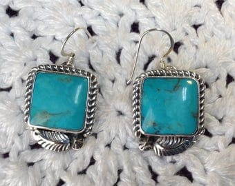 Blue Turquoise with Leafs Earrings