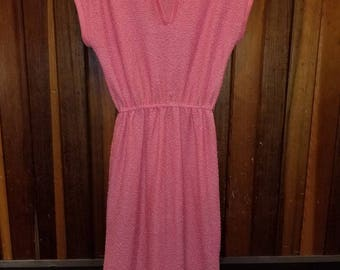 JONATHAN LOGAN DRESS // 70's Pink See Through Dress Size S/M Elastic Waist 80's Knit Short Sleeve Summer