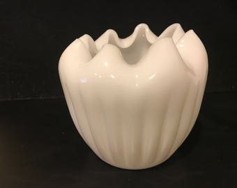 White Milk Glass Ribbed Vase from Indiana Glass Company