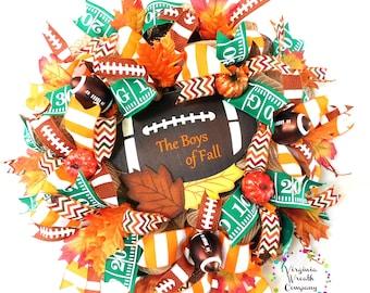 Football Wreath, Football Wreath for Front Door, Football Wreath Decor, Football Decorations, Football Decor, Football Deco Mesh Wreath