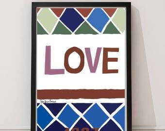 YSL 1997 Blues Colour LOVE Illustration Poster Print Home Decor