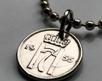 1954 or 1955 Norway 1 ore coin pendant Norge initial H Norwegian Oslo Scandinavian cross Nordic lucky 7 monogram Viking necklace n002194