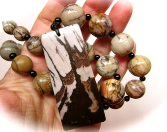 Picasso Jasper and Banded Jasper Crocheted Adjustable Crystal Pendant Necklace