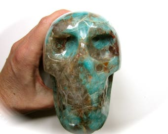 Huge Brazilian Amazonite in Quartz Crystal Skull 112mm 1152g