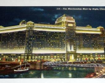 Vintage 1930's Curteich Postcard Chicago Merchandise Mart at Night