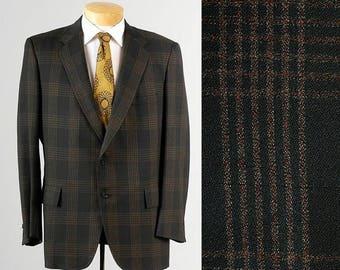 SALE Vintage 70s Mod Green Mens Jacket Windowpane Plaid Hart Schaffner Marx 42 42R
