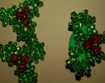Holly Christmas pin. Beautiful small brooch for the holidays.