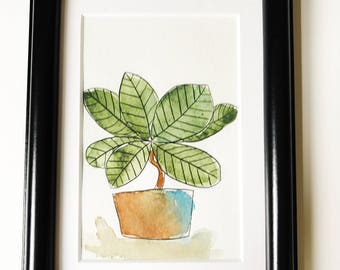 Original watercolor painting of a house plant - art - illustration - interior design - eco friendly bamboo paper - for sale
