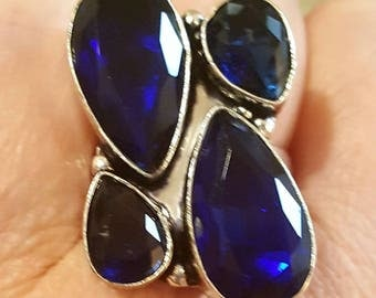 Natural Blue Sapphire 925 Sterling Silver Ring 9 US
