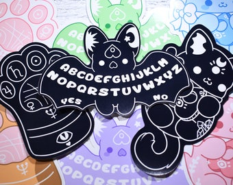 Kawaii Occult Sticker Set ( PACK OF 3 ) - ( Cute paw palm reading fate occult moon bat ouija kitty cat cats kitties stickers )