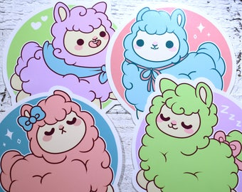 Kawaii Alpaca Stickers ( cute chibi stickers alpacas )