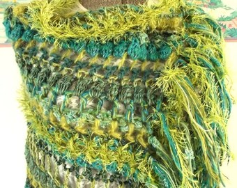 Crochet Shawl, Boho Wrap, Turquoise Green Aqua Shawl, Gypsy, Lightweight, Freeform Crochet, Colorful, Bright, Lightweight Wrap