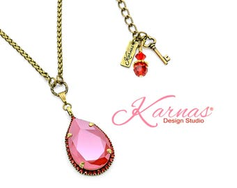RED ALL AROUND 30x20mm Pear Light Siam Halo Pendant Necklace Swarovski Crystal *Antique Brass *Karnas Design Studio™ Large *Free Shipping