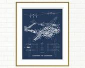 "P38 Lightning blueprint, Airplane blueprint, P38 Lightning, Printable Art, Airplane, Blueprint Art, Aviation Art, 8x10"", 11x14"", 16x20"""