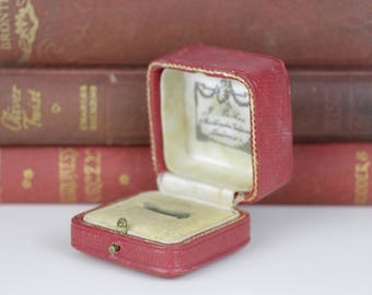 Antique Ring Box Engagement or Wedding Ring Box Vintage Ring Box Red