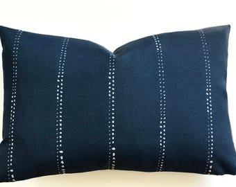 Outdoor Pillow Cover, Indoor, Navy, White, Deck, Patio, Beach, Cushion, Blue, Lake House, Cottage, Decorative, Accent, Sunroom, Nautical