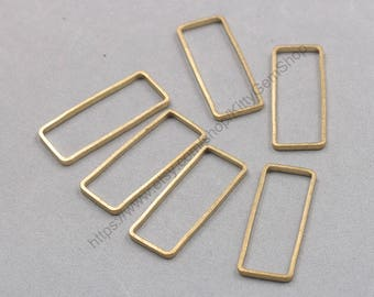 10Pcs, 38mm Raw Brass Rings Charms ZR-7512
