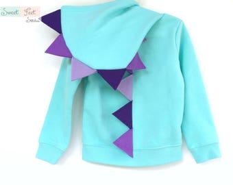 3T Aqua Dinosaur Hoodie Costume with Purple Spikes