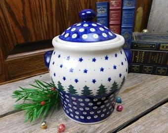 Vintage Polish Pottery Biscuit Jar - Cookie Jar - Boleslawiec - Christmas Trees