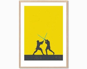STAR WARS | Anakin Skywalker and Obiwan Kenobi Duel Poster : Modern Movie Seventies Illustration Art Wall