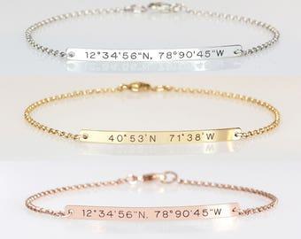 Coordinate bracelet Sterling silver bar bracelet Engraved coordinates bracelet Bridesmaids gift Roman numerals bracelet Mothers gift