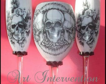Tattoo Style Skull Wine & Flute Glasses, Hand decorated.