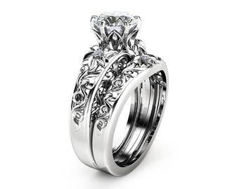 Moissanite Engagement Ring Set 14K White Gold Moissanite Rings Unique Moissanite Rings White Gold Engagement Rings