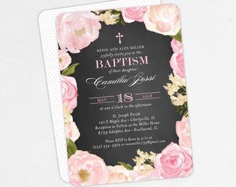 Baptism Invitation, Christening Invitation, Girl Baptism, Printable Baptism Invite, Floral, Watercolor Flower, Chalkboard, Pink, Camilla