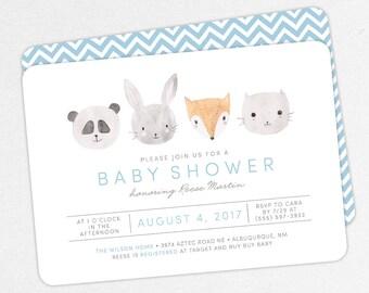 Woodlands Baby Shower Invitation, Pink Baby Shower, Boy Baby Shower, Printable Invitation, PDF Invitation, Animal, Watercolor, Fox, Panda