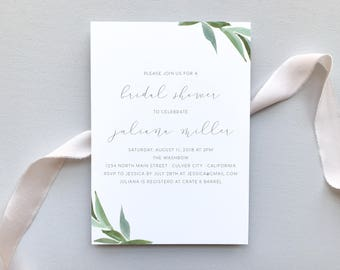 Bridal Shower Invitation / Modern Greenery Invitation Suite / Minimalist, Chic, Outdoor Wedding / #1131
