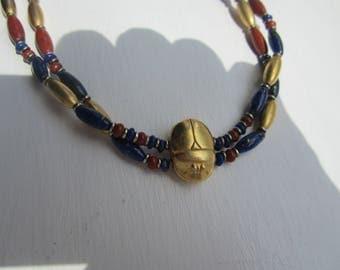 Exotic and Unique Egyptian Revival Necklace-Gold Vermeil, Lapis, Carnelian