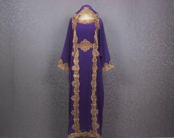 Elegant Purple Womens Caftan Purple Dress Dubai Gold Embroidery, Womens Wedding Bridesmaid Congregation Hanukkah Special Kaftan Maxi Dress