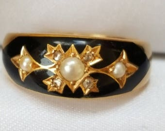 Antique Diamond and Pearl 18ct Memorial Ring with Inscription