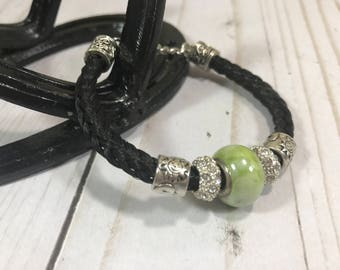 Ready To Ship, Black, Horsehair Bracelet, Horse Gift, Horsehair Gift, Lime Green Bracelet, Braided Bracelet, Pony Gift, Horse Jewelry