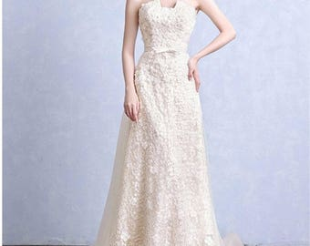Lace Wedding Gown, Lace Wedding Dress, Lace Bridal Gown, Boho Bridal Gown, Wedding Dress, A-Line Wedding Dress, Garden Wedding , Low Back