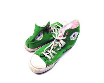On Sale 1990s Vintage Converse Shoes Chuck Taylors Converse Shoes Rare Colourway Vintage Converse Green Shoes **FREE SHIPPING**