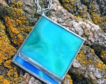 Stained Glass Necklace, Blue