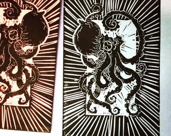 Little octopus woodblock style linoprint