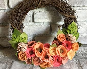 14 inch Felt Flower Grapevine Wreath