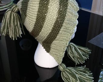 Green Knitted Hat with Tassels