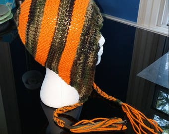 Orange and Camo Knitted Hat