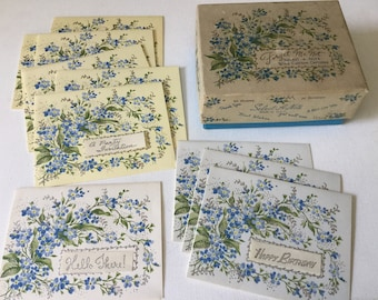 Forget Me Not Floral Note Cards Blue Siver Vintage  stationary