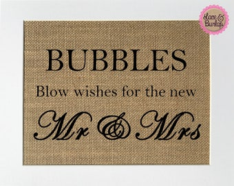 UNFRAMED Bubbles Wishes For The New Mr & Mrs / Burlap Print Sign 5x7 8x10 / Rustic Vintage Shabby Chic Wedding Sign Just Married Love Sign
