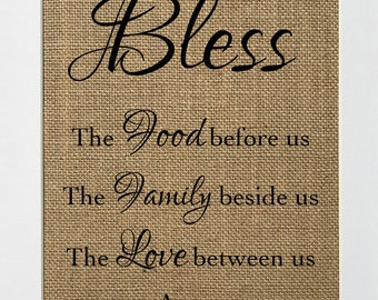 UNFRAMED Bless The Food Before Us.. / Burlap Print 8x10 / Rustic Vintage Home Decor Love House Sign Housewarming Decor Sign