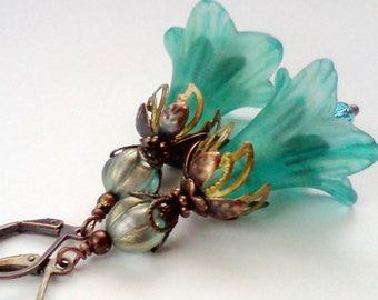 Hand Painted Earrings, Teal Earrings, Aqua Earrings, Flower Dangles, Teal Earrings, March Birthstone Color, Blue Green Dangles, Floral, #2
