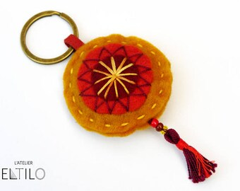 Keychain colored yellow felt / / key-Bohemian style / / hand embroidered key fob.