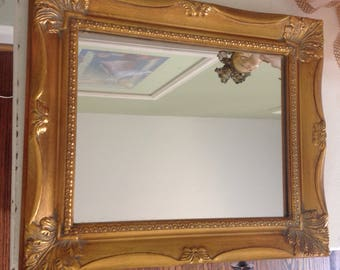 Vintage gold mirror .......rectangular shaped....ornate frame.....Victorian ....excellent condition ...wood