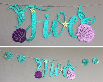 Five Banner, Little Mermaid Ariel, Mermaid Letters, Happy Birthday Under The Sea Party Decor, gold starfish, Sea Shells, Chair Table, Five 5