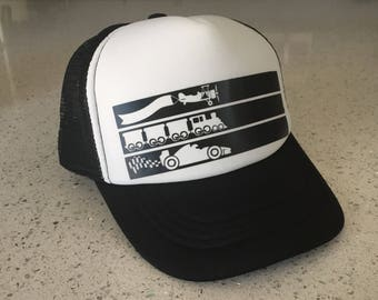 Kids Hat - Planes Trains Automobiles - Snap Back Trucker - Black White Stripes Boys Girls Toddler Kids