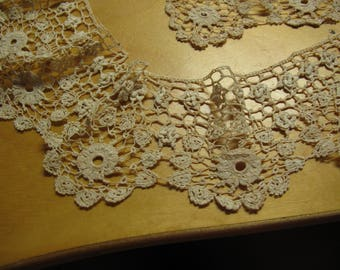 1 piece of 1800's fabulous Irish collar handmade lace and fab edge can use for collar slightly as curved 900 mm length 70mm deep number  35